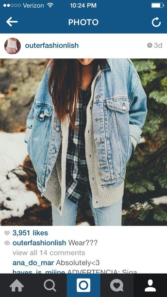 jacket denim jacket flannel shirt sweater outfit jeans