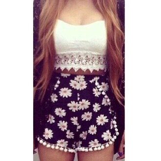 shorts fringes high waisted floral daisy daisies blue
