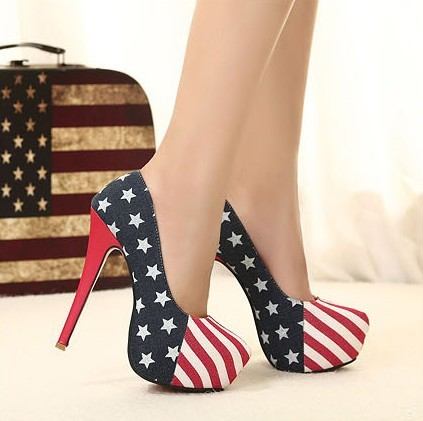 Free shipping, hot, 2013 summer women high heels American flag, red soles-in Pumps from Shoes on Aliexpress.com