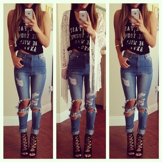 jeans cardigan ripped jeans top tank top shorts shoes lace cardigan high heel sandals denim ripped denim tank top black high heels black and white tumblr outfit high waisted jeans t-shirt iphone 5s cute girly holes clothes broken hole jeans hipster jeans jeans hole jegging shirt kimono tumblr