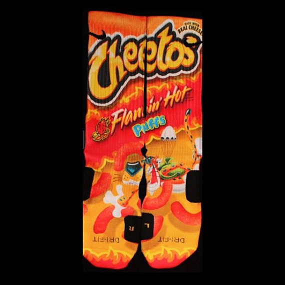 Cheetos flaming hot parody custom nike elite socks by luxuryelites