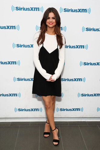 dress top sandals selena gomez black dress black and white shoes