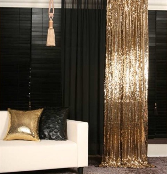 Curtain Sparkle Gold Sequins Black Sequins Home Decor Sequin Gold Curtains Home Accessory Dress