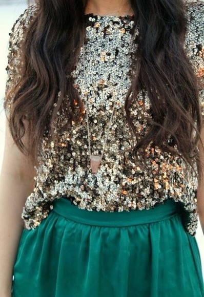 blouse sequins style forest green skirt green skirts