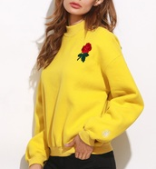 sweater,embroidered,girly,yellow,high neck,sweatshirt