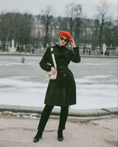 sunglasses,beret,hat,coat,black coat,pants,black pants,boots,black boots,bag,cat eye