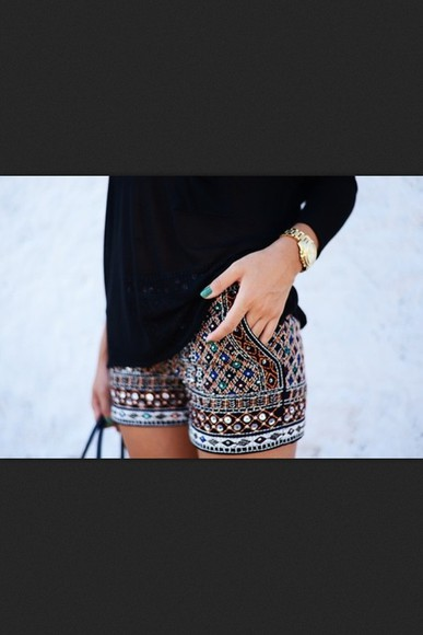 beautiful black shorts gold pants