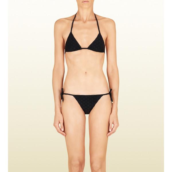 Gucci Black Towel Jacquard Triangle Bikini - Polyvore