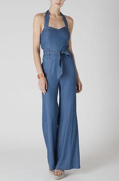 Anthropologie Elevenses Sharlene Halter Dark Chambray Jumpsuit Romper 6 | eBay