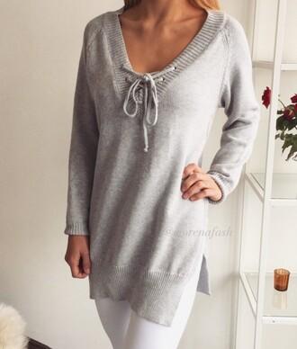 sweater slit knit pullover v neck