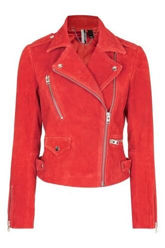 jacket biker jacket suede red