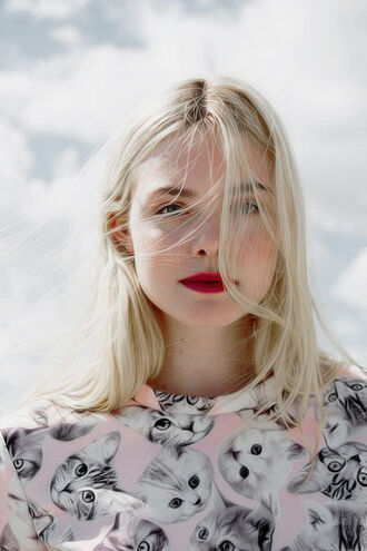 top animal pink cute lolita pink top pastel pastel pink celebrity actress cats animal print animal face print elle fanning platinum hair pink lipstick