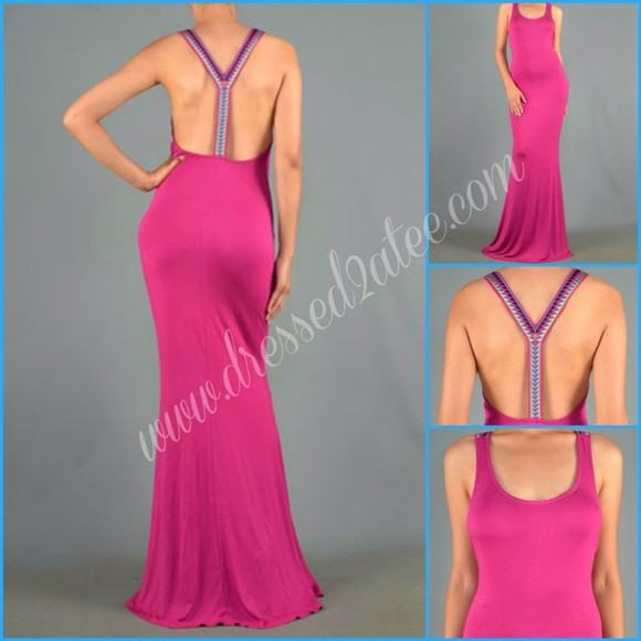 clothes tumblr girl cute girly tumblr summer dress backless dress backless maxi dress pink dress fashion style casual fushia pink cute dress long dress tribal pattern gorgeous hot dress maxi pink magenta hot pink hot topic hot summer outfits pretty dress spring dress