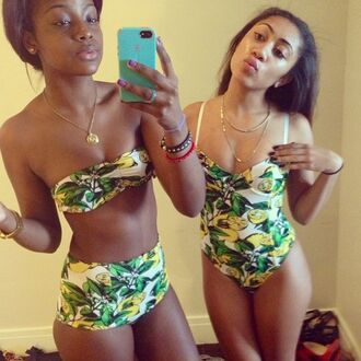swimwear swimmers lemon leaves white yellow green bikini bodysuit hipster indie tumblr high waisted one piece swimsuit