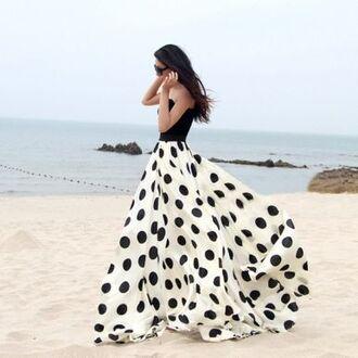 dress polka dots maxi dress beach