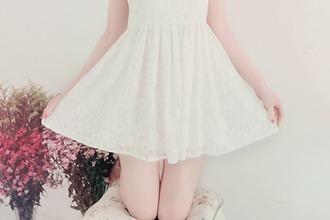 dress cute girl white dress white kfashion fashion patterned dress korean fashion