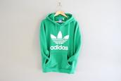 top,adidas hoodies,green adidas hoodies,trefoil sweatshirt,trefoil adidas