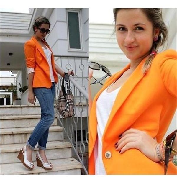 Trendy Womens Fashion Suit Blazer One Button Foldable Jacket Coat ...