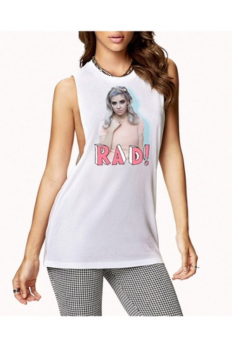 tank top marina diamonds pastel goth pastel goth tumblr cute 90s style 80s style band celebrity rad sick muscle t-shirt white