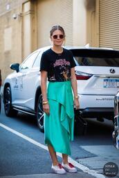 top,t-shirt,skirt,blue skirt,iron maiden,sneakers,sunglasses