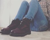 shoes,grunge,urban,DrMartens,boots,infinity,soft grunge,combat boots,jeans,sweater,brown leather boots,leather,winter boots,blouse,dr.martens maroon