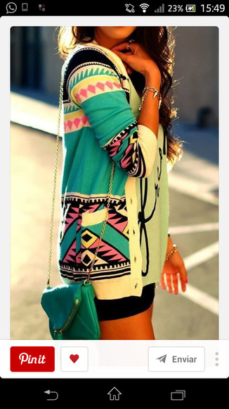 green jacket aztec cardigan