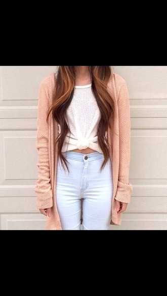 sweater cute cardigan tumblr peach jumper jeans pink hipster tumblr outfit cream fall sweater cozy warm fall outfits fall winter outfits november cold twitter white jeans high waisted jeans