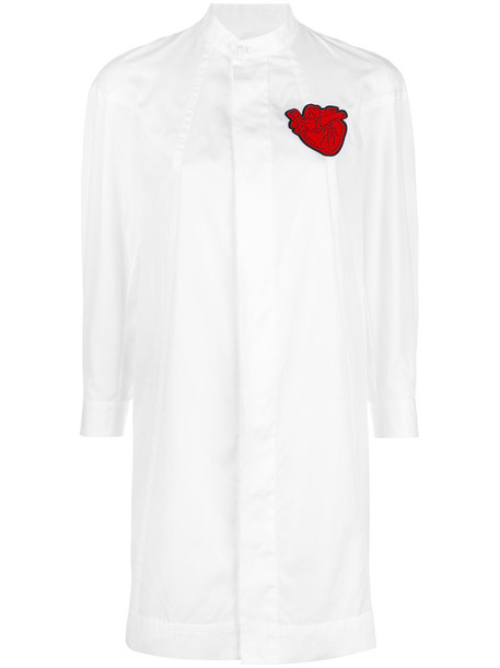 Dsquared2 dress shirt dress heart women leather white cotton