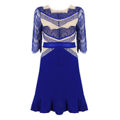 dress,celebindress,sexy,chic,elegant,party,blue,lace,mesh,evening dress,clubwear,flouncing,slim
