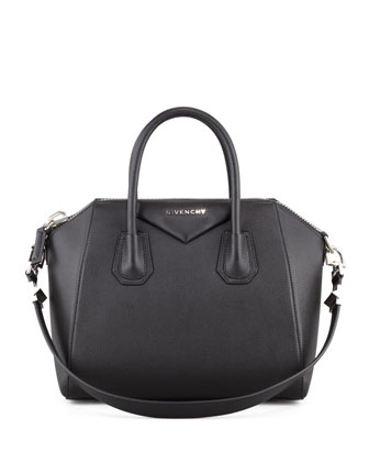 Givenchy Antigona Small Sugar Goatskin Satchel Bag, Black