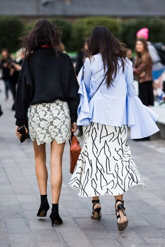 top bell sleeve top blue top long sleeves skirt maxi skirt black and white skirt lace skirt mini skirt white skirt shoes black high heels high heels streetstyle black top