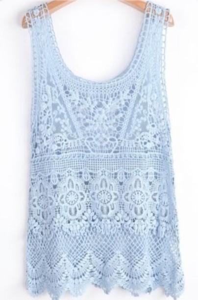 blouse lace baby blue