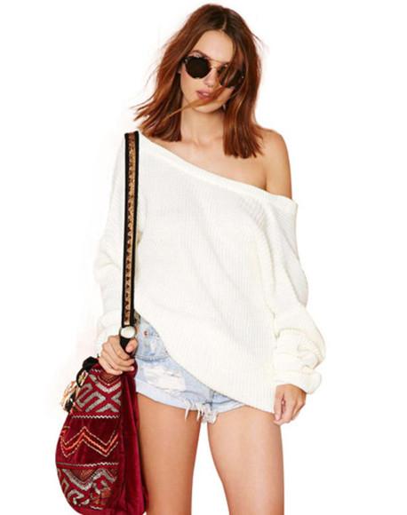 sweater off the shoulder off the shoulder sweater top cropped sweater off the shoulder top bag