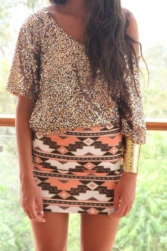 aztec blouse skirt cuff bracelet pants jewels peach white dress shirtandshirt reallycute tribal skirt tribal pattern sparkle off the shoulder aztec detail and exact colors gold sparkle glitter shirt gold sparkley pencil skirt bodycon party dress party half body con sequin shirt gold sequins orange brown sequins pink coral hot top gold shimmery sequined blouss sparkly top holiday shirt new year's eve top sequin top gold shirt flowy