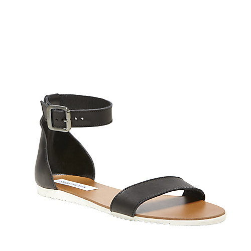 WAIKIKI BLACK LEATHER women s sandal flat ankle strap - Steve ...