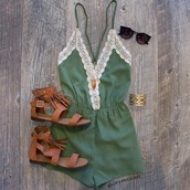 romper,green,green romper,girly,lace,tan sandals,olive green,crochet,top,tank top,summer top,shoes,dress,jumpsuit,white,navy green lace,pretty,kaki combinaison,boho,boho chic,army green,cute,trendy,stylish,music festival,festival,festival must have,summer outfits,summer,outfit idea,cute outfits,casual,outfit,beach,style,leather,sandals,brown,gold bracelet,sunglasses,complete outfit,hipster,indie