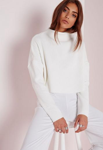 Missguided - Tall Ribbed High Neck Jumper White