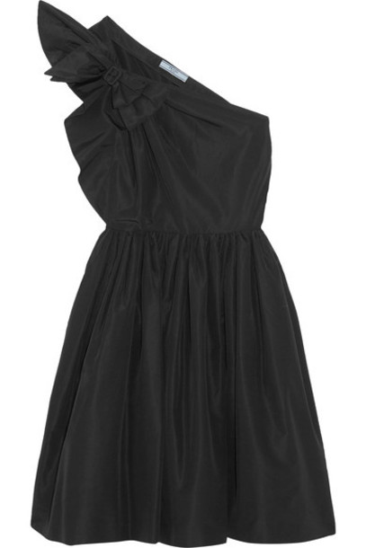 Prada - One-shoulder Bow-embellished Silk-faille Dress - Black