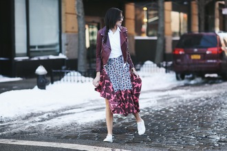 we wore what blogger skirt perfecto plum folk print