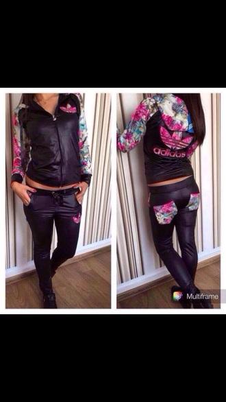 jacket addias sweater adidas tracksuit addidas pants black sweater black pants flower pattern adidas sweater addidas roses trendy jumpsuit sweatshirt sweatpants