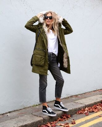 shoes white shirt green fur jacket grey jeans sunglasses vans blogger