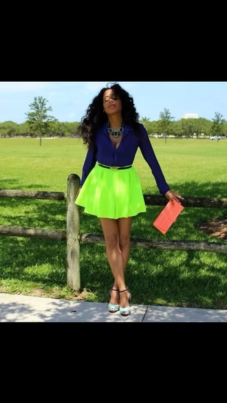 skirt neon ootd boutique envy skater cut-out plunge keyhole blouse