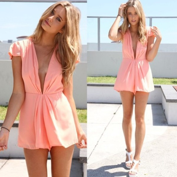 dress peach playsuit romper