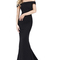 Sherri hill   abito lungo bardot nero - lemlo online shop
