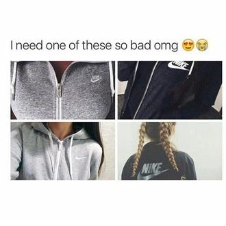 sweater grey black nike jacket cozy