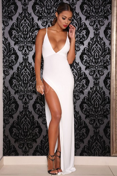 Elegant and sexy evening cocktail dress with a low V-neck line in ...