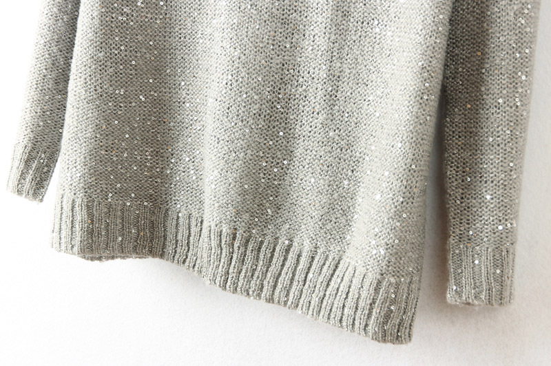 Grey Loose Collar Pullover Sweater