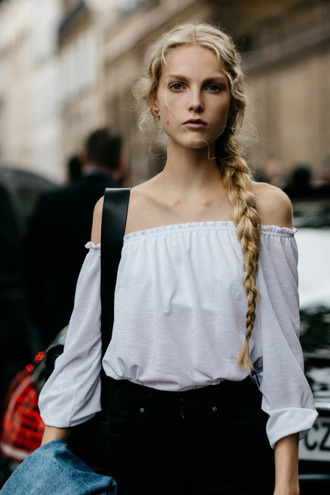 top tumblr white top off the shoulder off the shoulder top braid blonde hair streetstyle