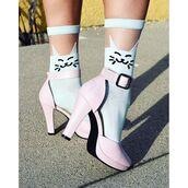 socks,cat socks,cats,heels,vintage,retro