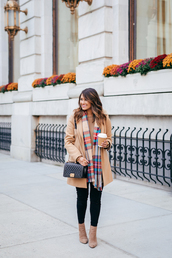 hauteofftherack,blogger,coat,shoes,bag,scarf,quilted bag,beige coat,fall outfits,tartan scarf,ankle boots,black skinny jeans